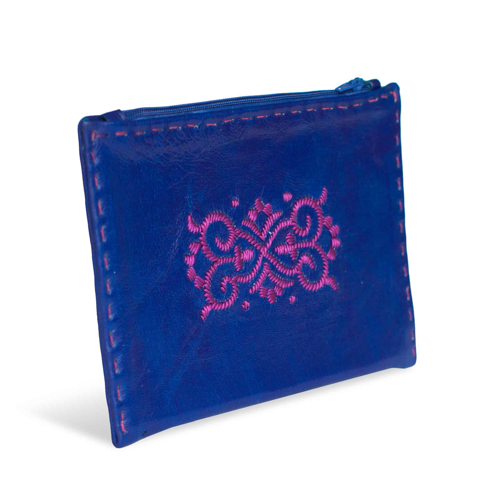 Navy Blue and Pink Embroidered Leather Pouch front view wallet
