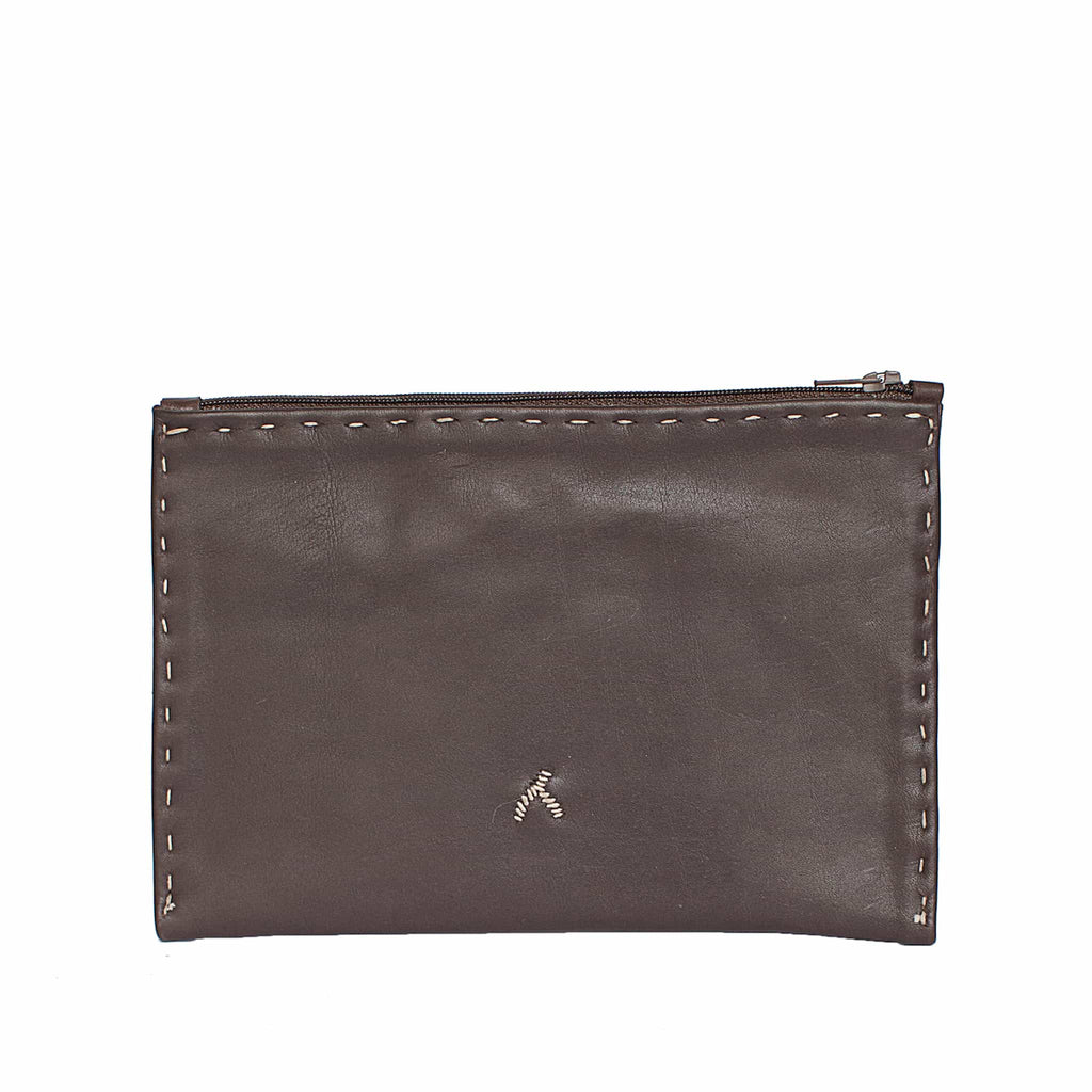 Dark Brown and Beige Embroidered Leather Pouch