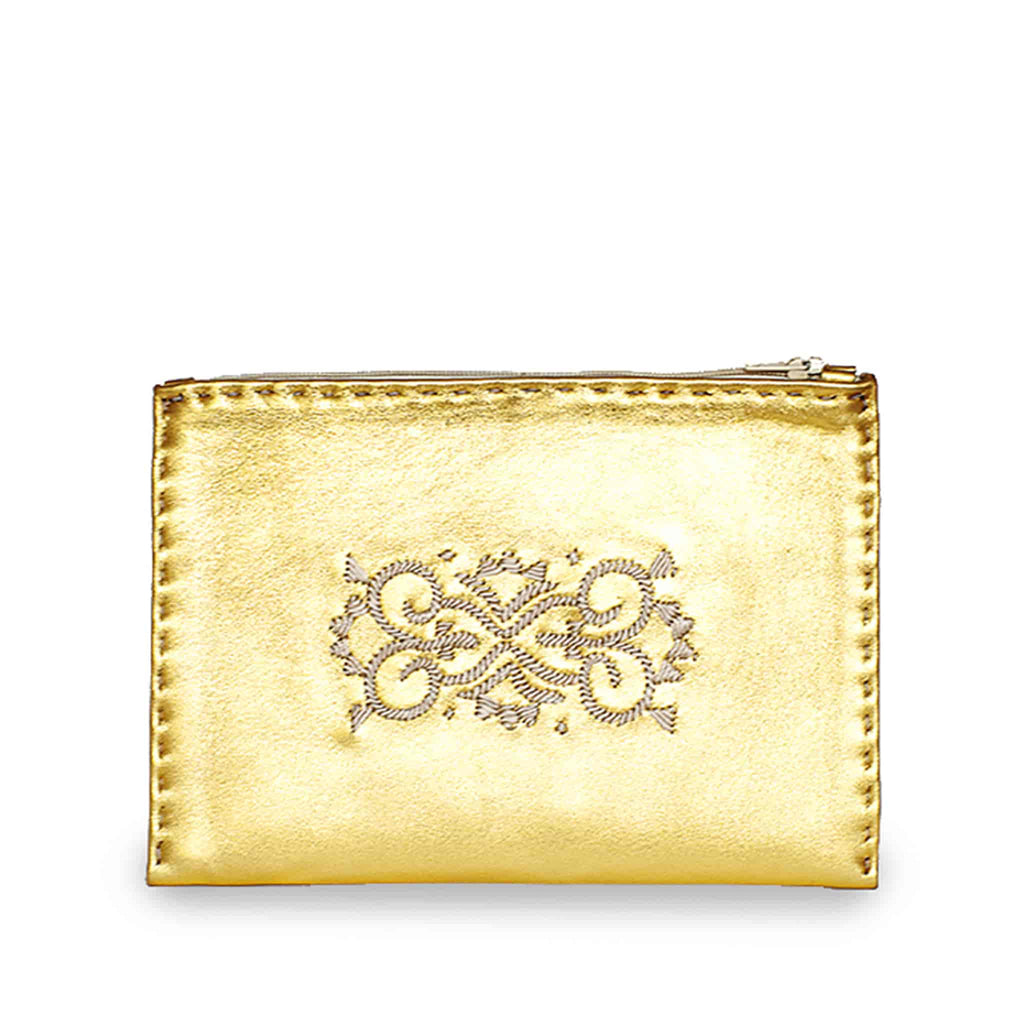 Golden Embroidered Leather Pouch handmade sustainable product front