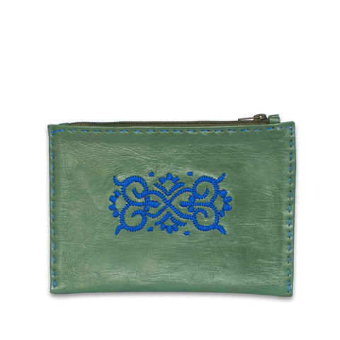 Embroidered Leather Pouch in White, Rosé