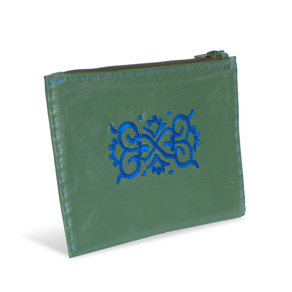 Green and Blue Embroidered Leather Pouch - handmade wallet from Morocco