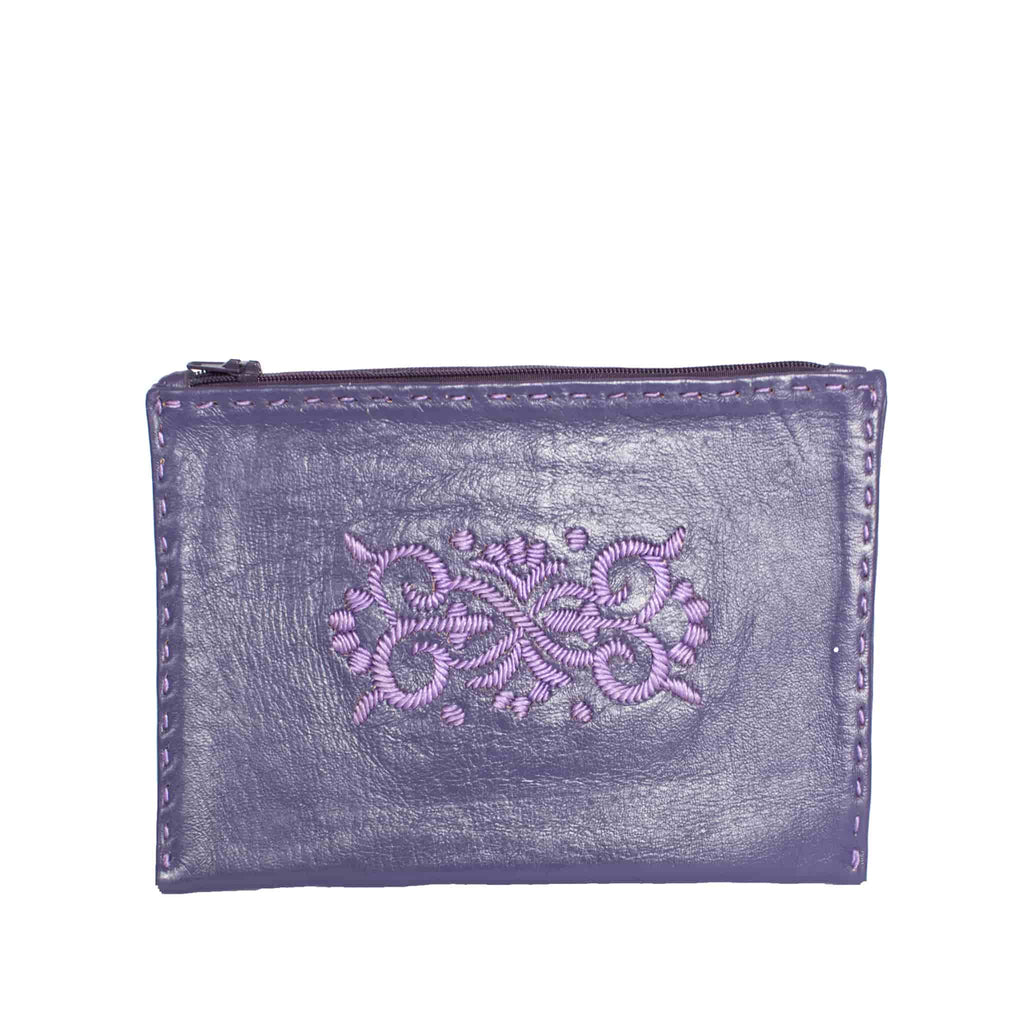 Embroidered Leather Pouch in Purple