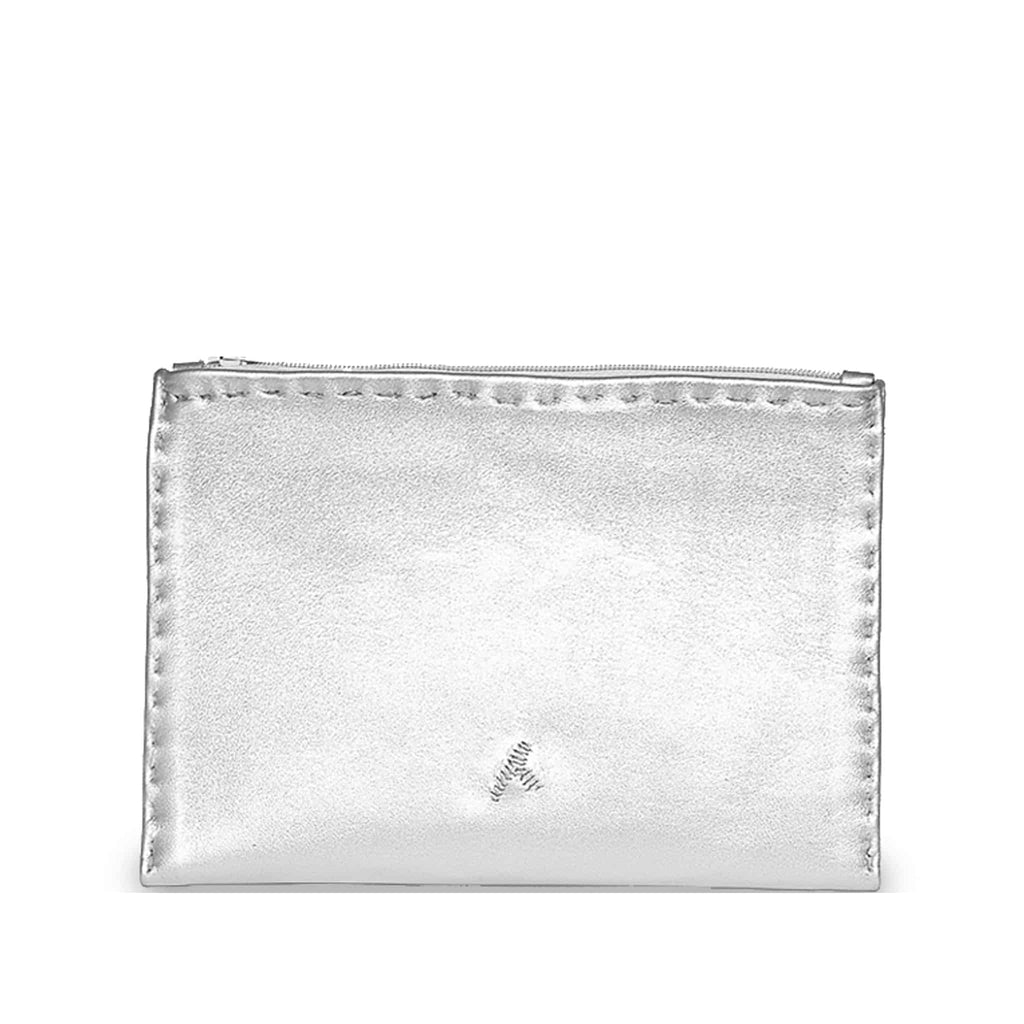 Silver Embroidered Leather Pouch wallet product back view