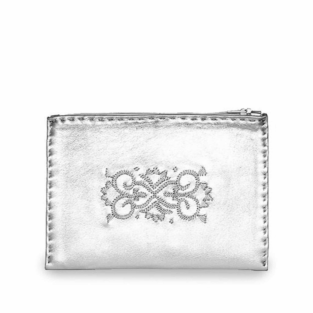Silver Embroidered Leather Pouch wallet product front view