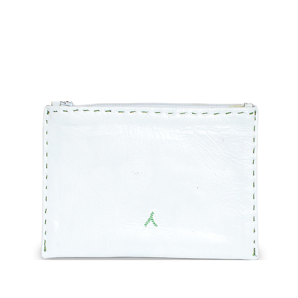 White and Green Embroidered Leather Pouch product back shot