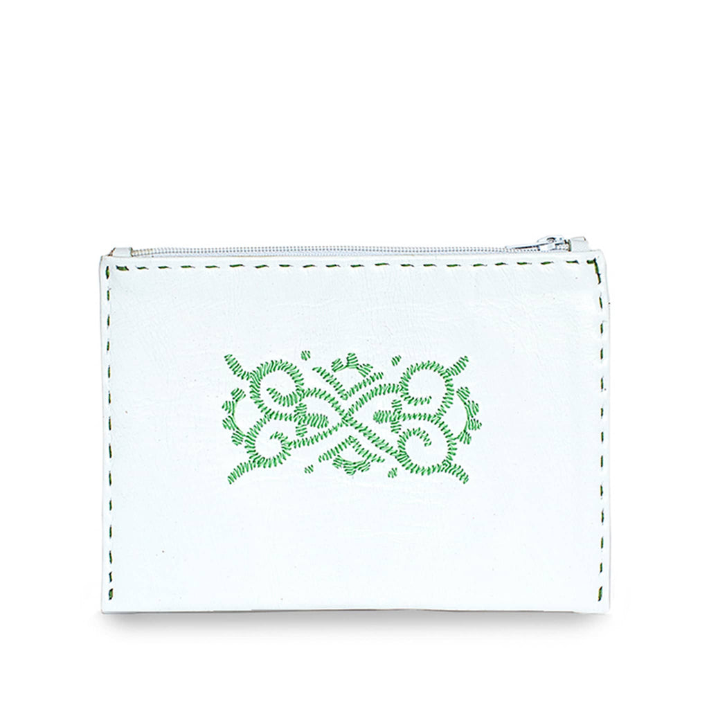 White and Green Embroidered Leather Pouch product front shot