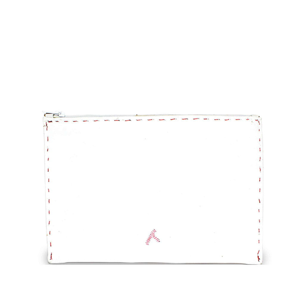 White and Pink Embroidered Leather Pouch eco-friendly product back view