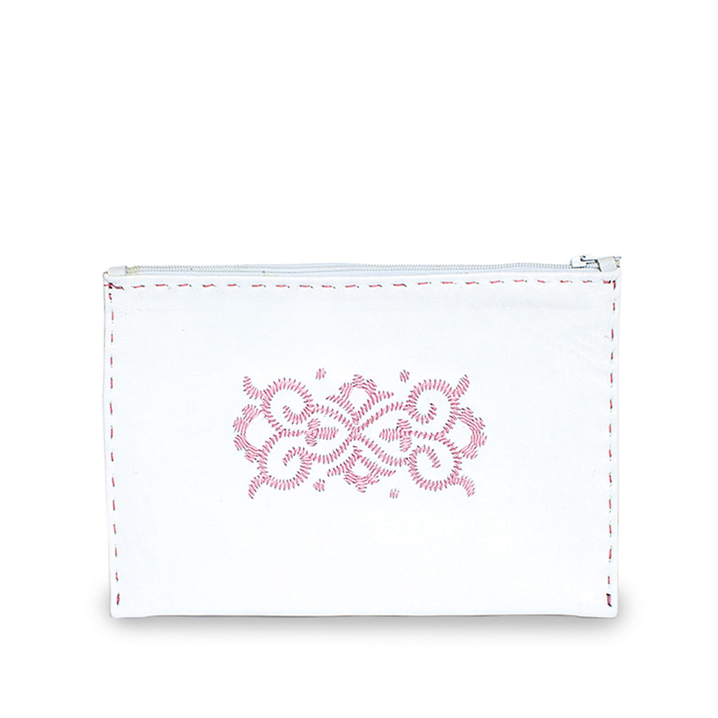 White and Pink Embroidered Leather Pouch sustainable product front view