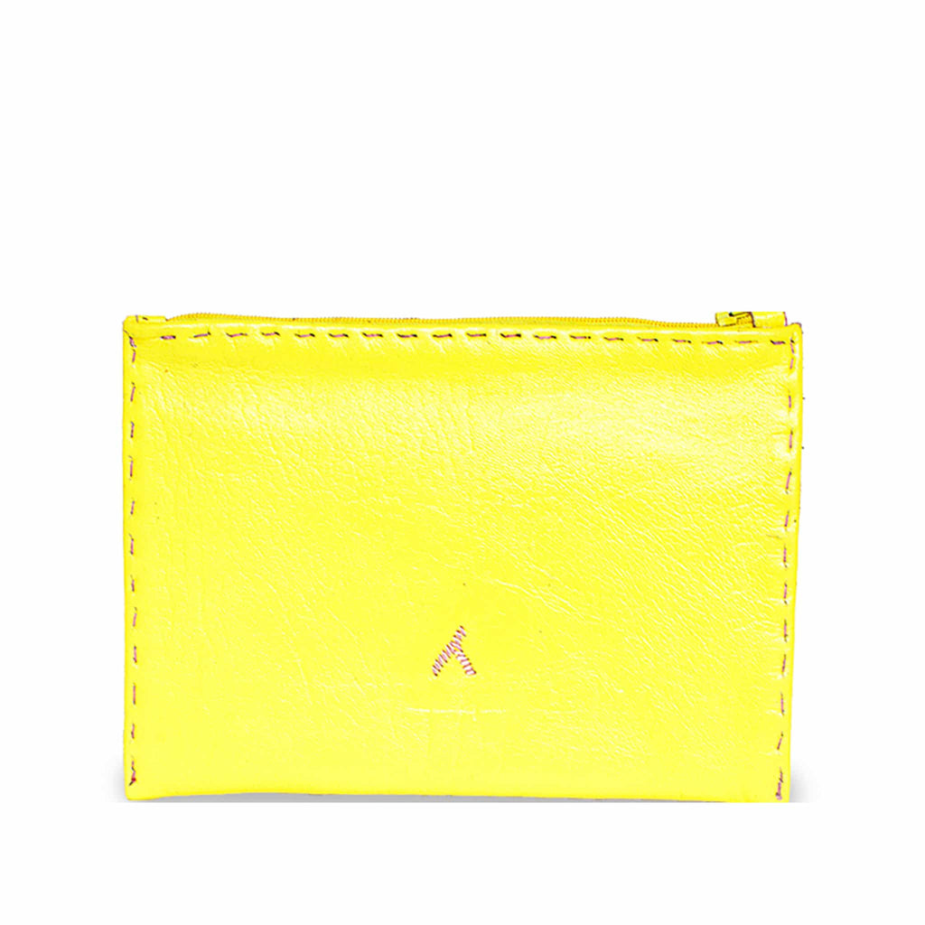 Yellow and Rosé Embroidered Leather Pouch slow fashion product back shot