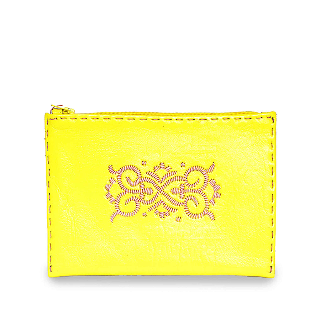 Yellow and Rosé Embroidered Leather Pouch slow fashion product front shot