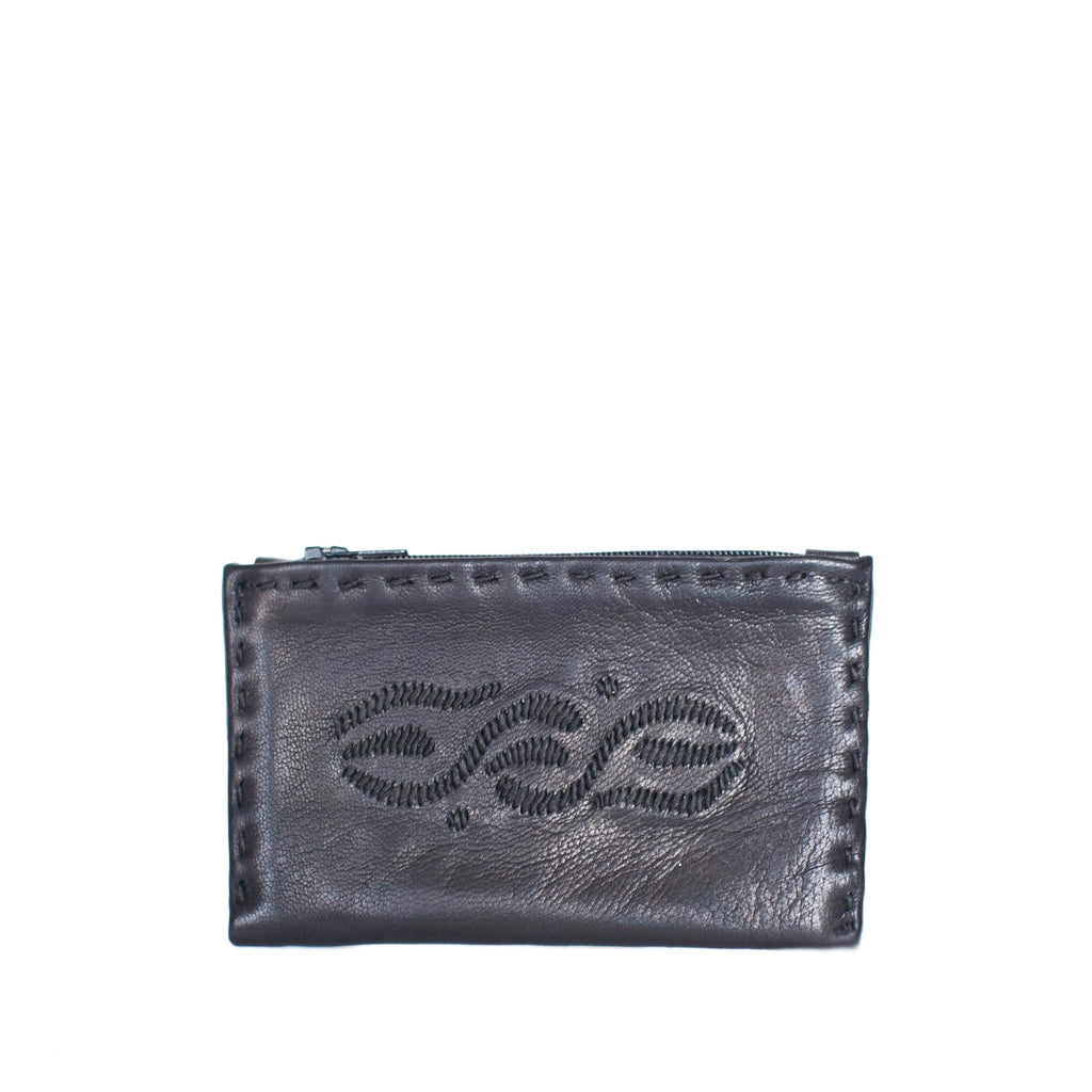 front view ABURY BLACK EMBROIDERED COIN WALLET