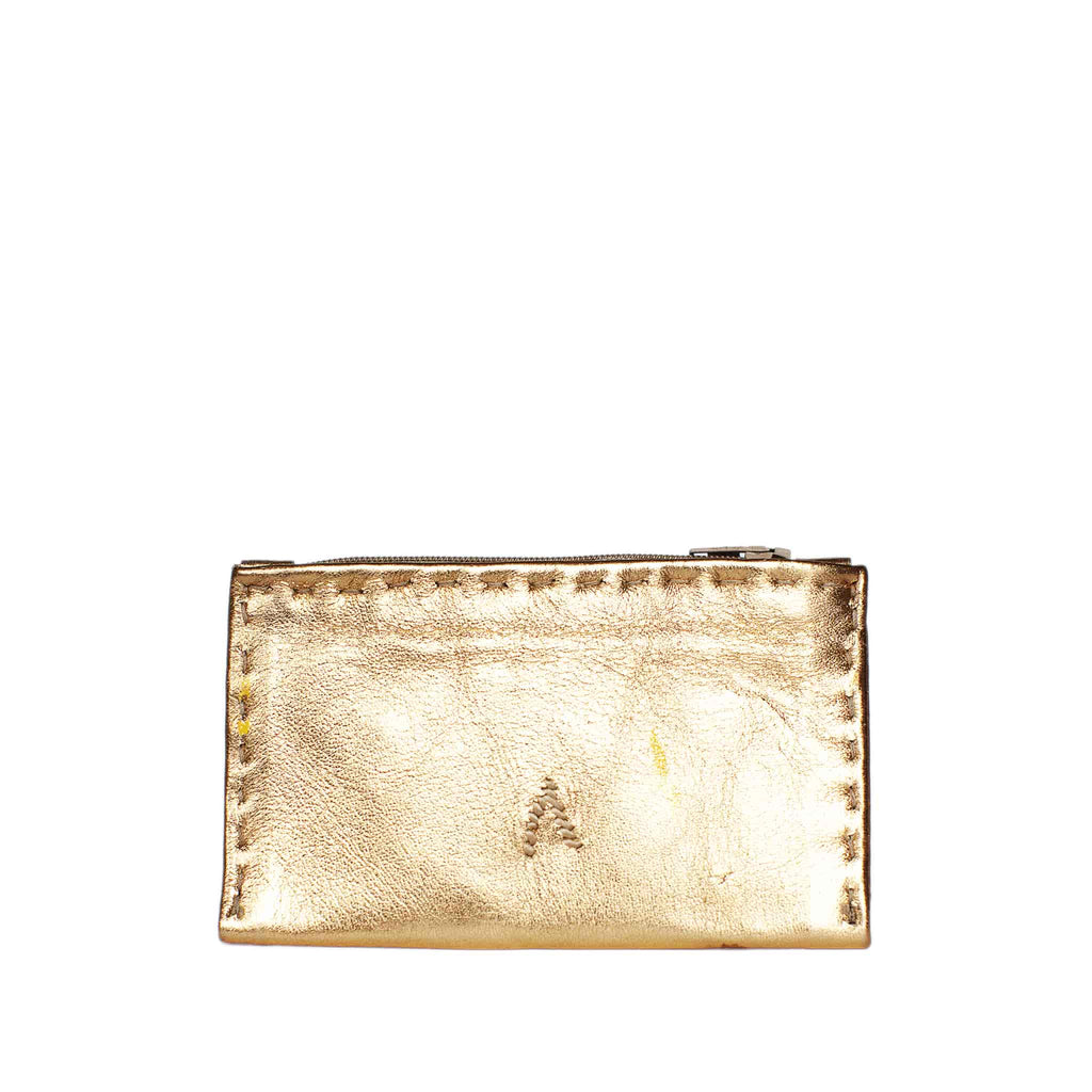 back view Golden Embroidered Leather Coin Wallet