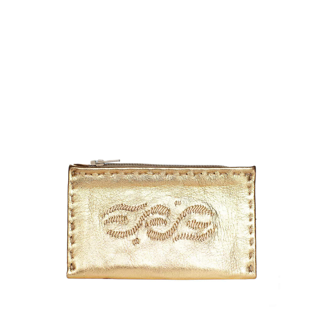 front view Golden Embroidered Leather Coin Wallet