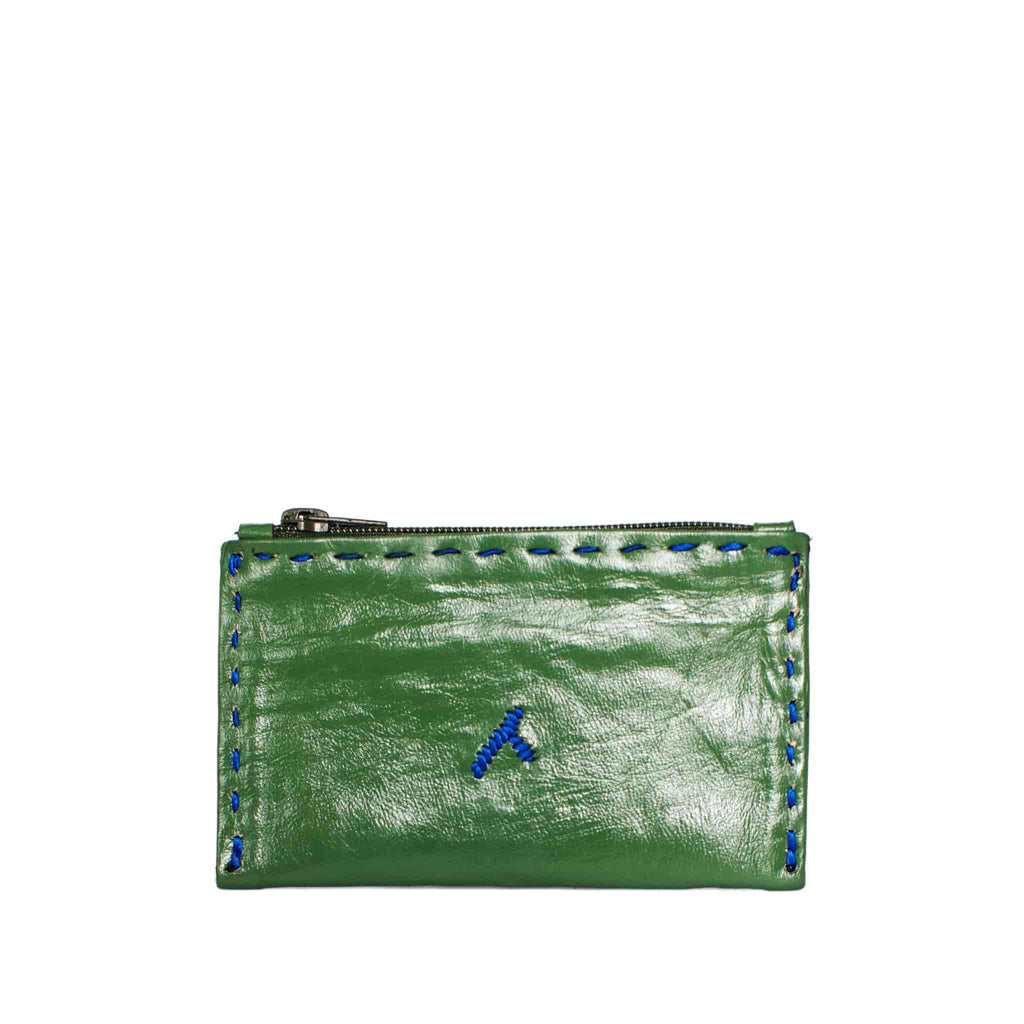 Embroidered Leather Coin Wallet in Dark Green, Blue