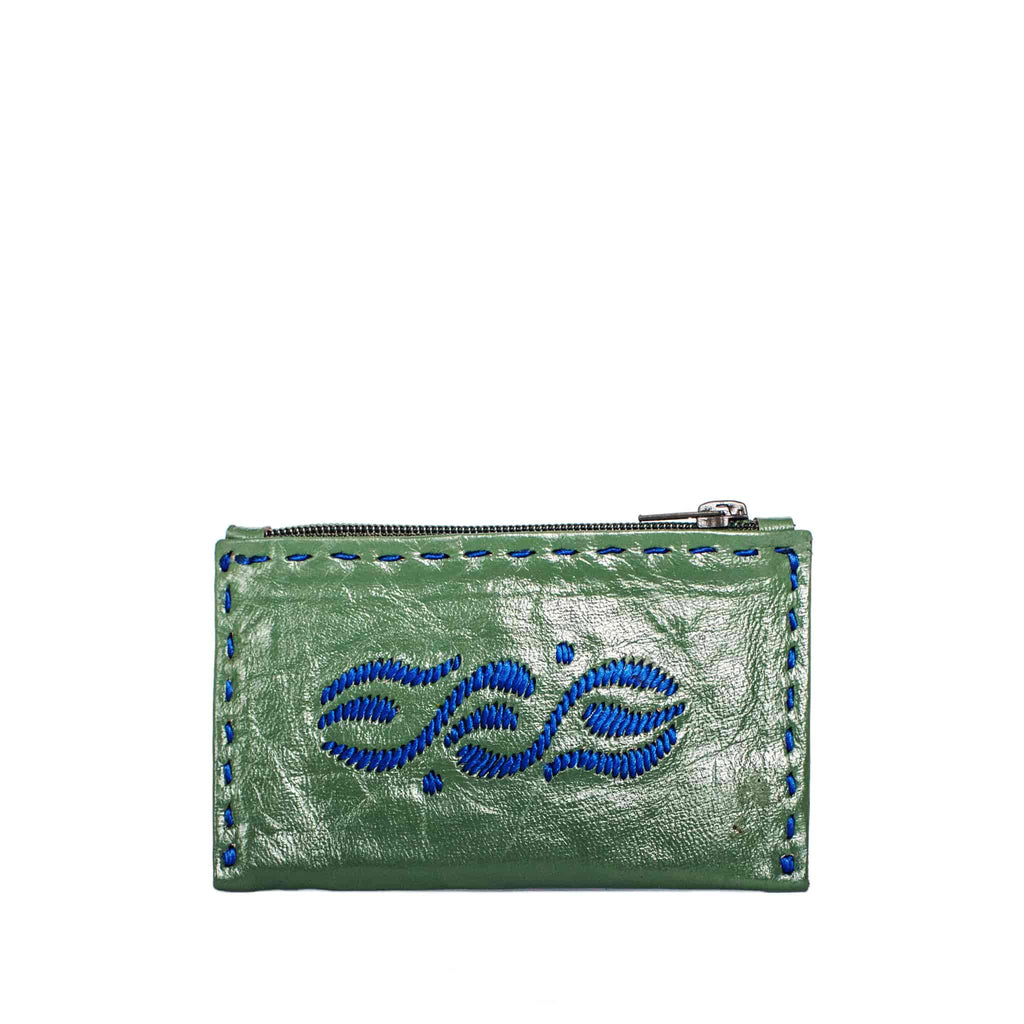front view handmade Green and Blue Embroidered Leather Coin Wallet