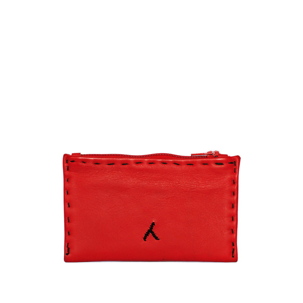 back view Red and Black Embroidered Leather Coin Wallet
