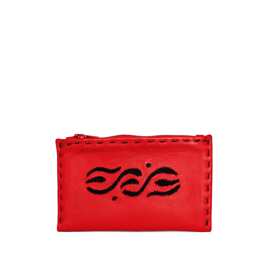 front view Red and Black Embroidered Leather Coin Wallet