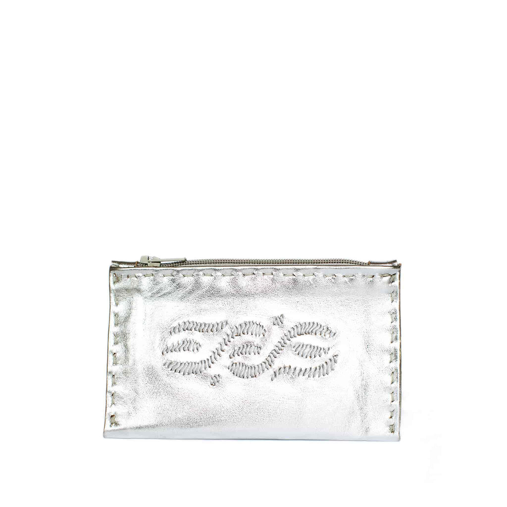 front shot handmade Silver Embroidered Leather Coin Wallet
