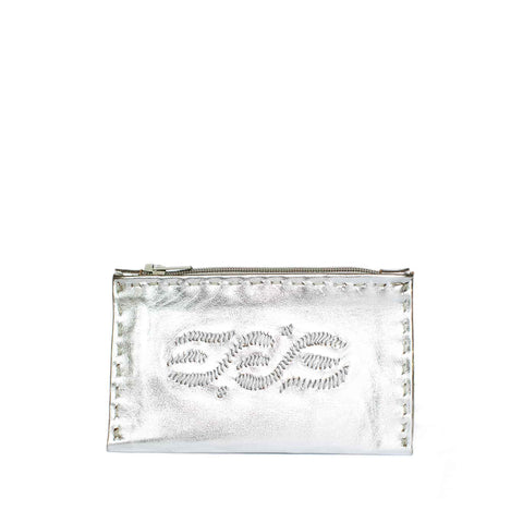 Embroidered Leather Coin Wallet in White, Black
