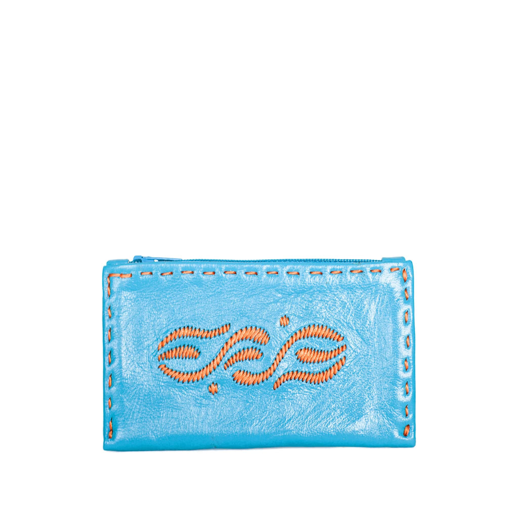 front product shot of handmade Turquoise and Orange Coin Wallet