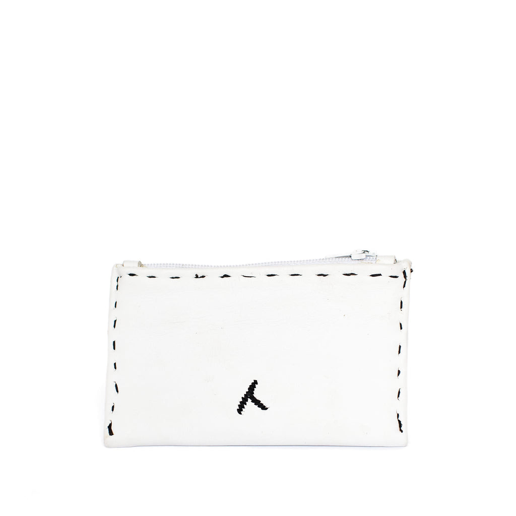 White and Black Embroidered Leather Coin Wallet