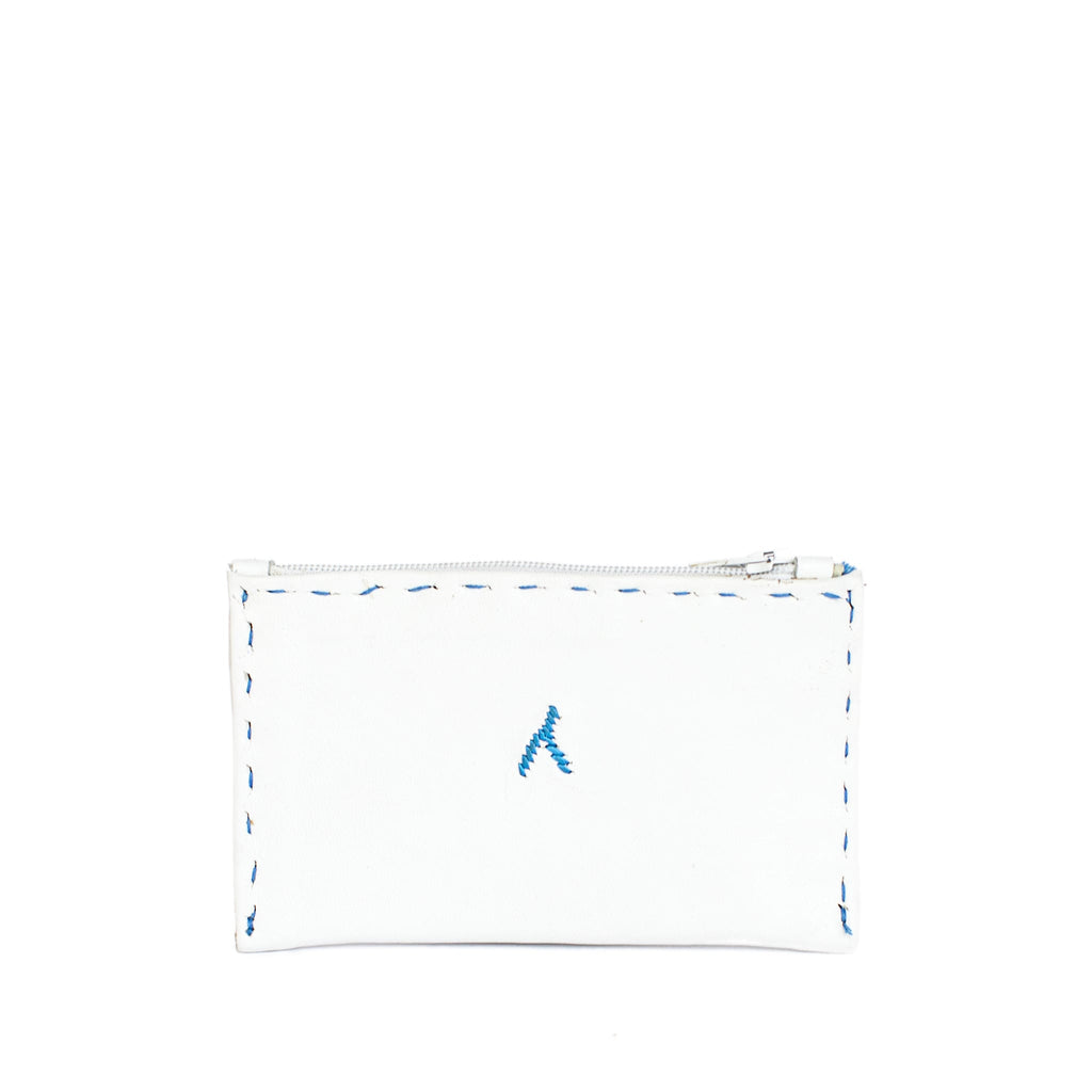back view of Moroccan handmade White and blue Embroidered Leather Coin Wallet
