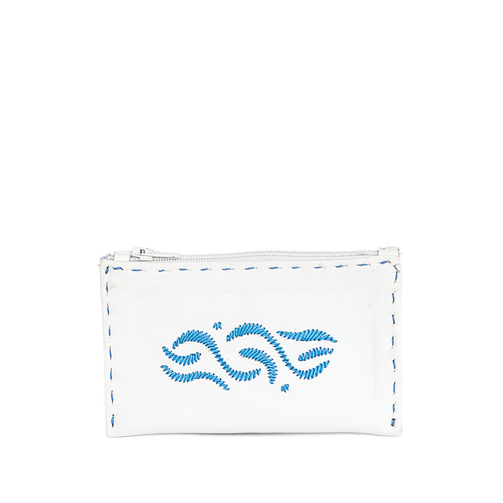 front view of Moroccan handmade White and blue Embroidered Leather Coin Wallet