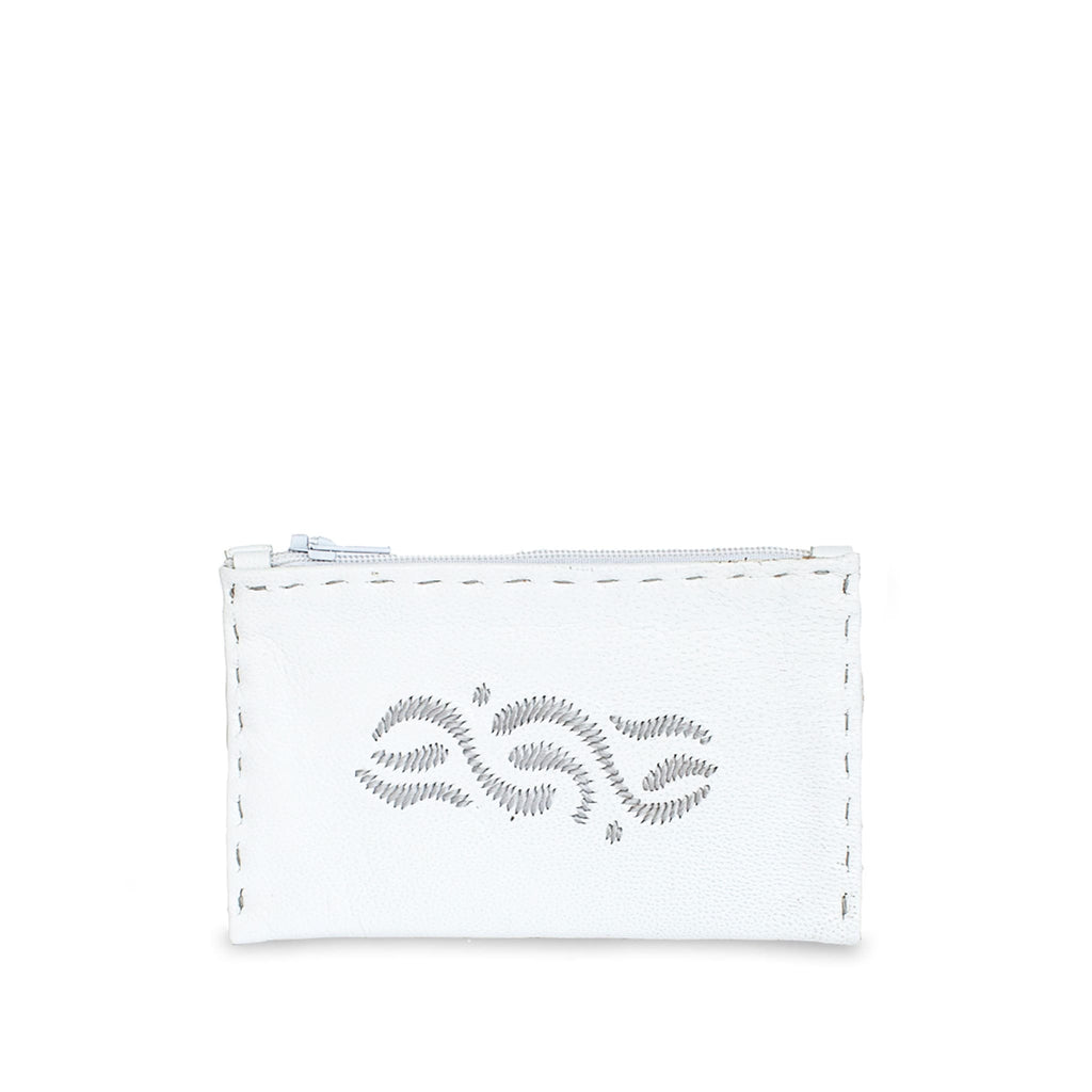 White and Silver Embroidered Leather Coin Wallet handmade product front view