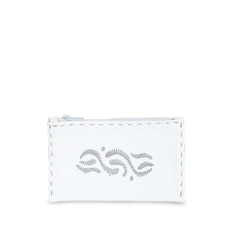 Embroidered Leather Coin Wallet in Black