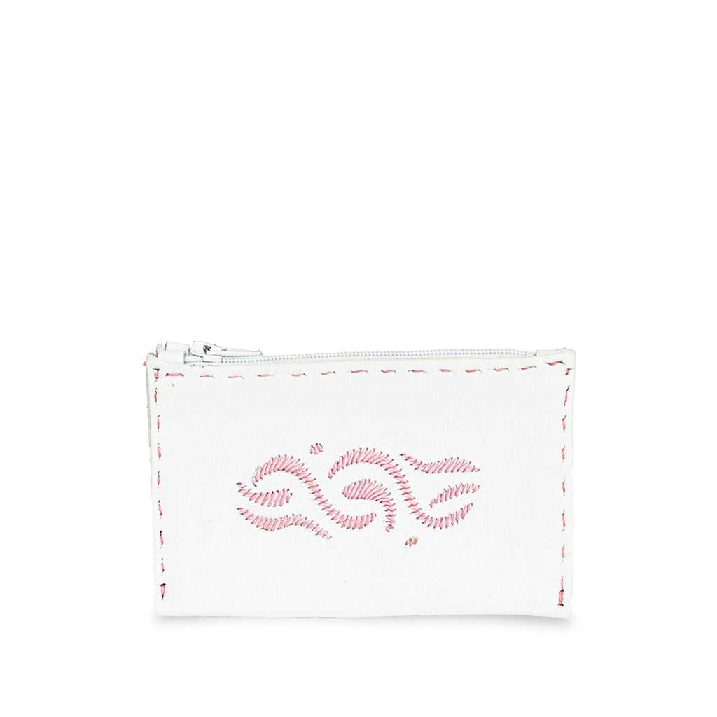 White and Pink Embroidered Embroidered Leather Coin Wallet packshot front
