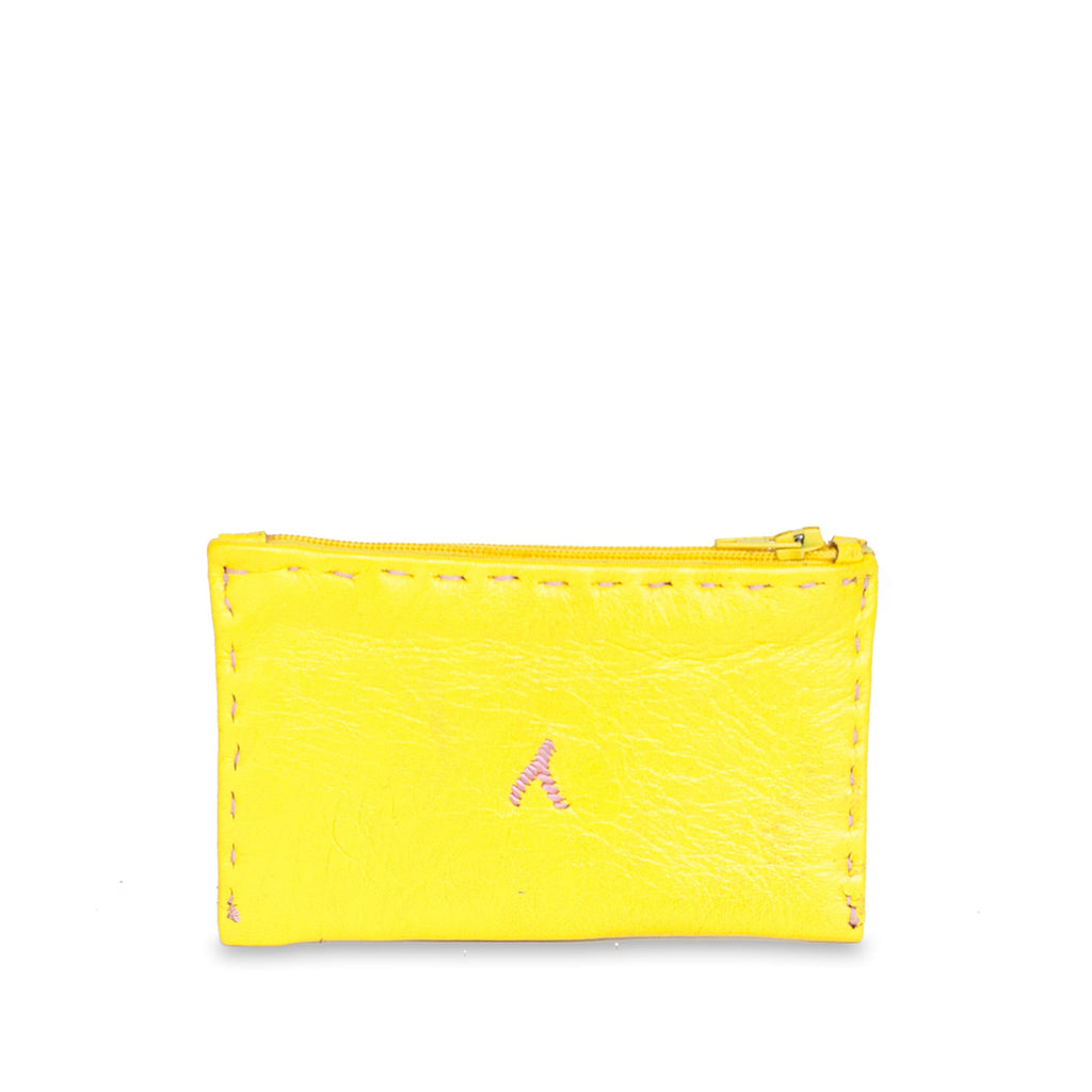 Yellow and Rosé Embroidered Leather Coin Wallet handmade product back shot
