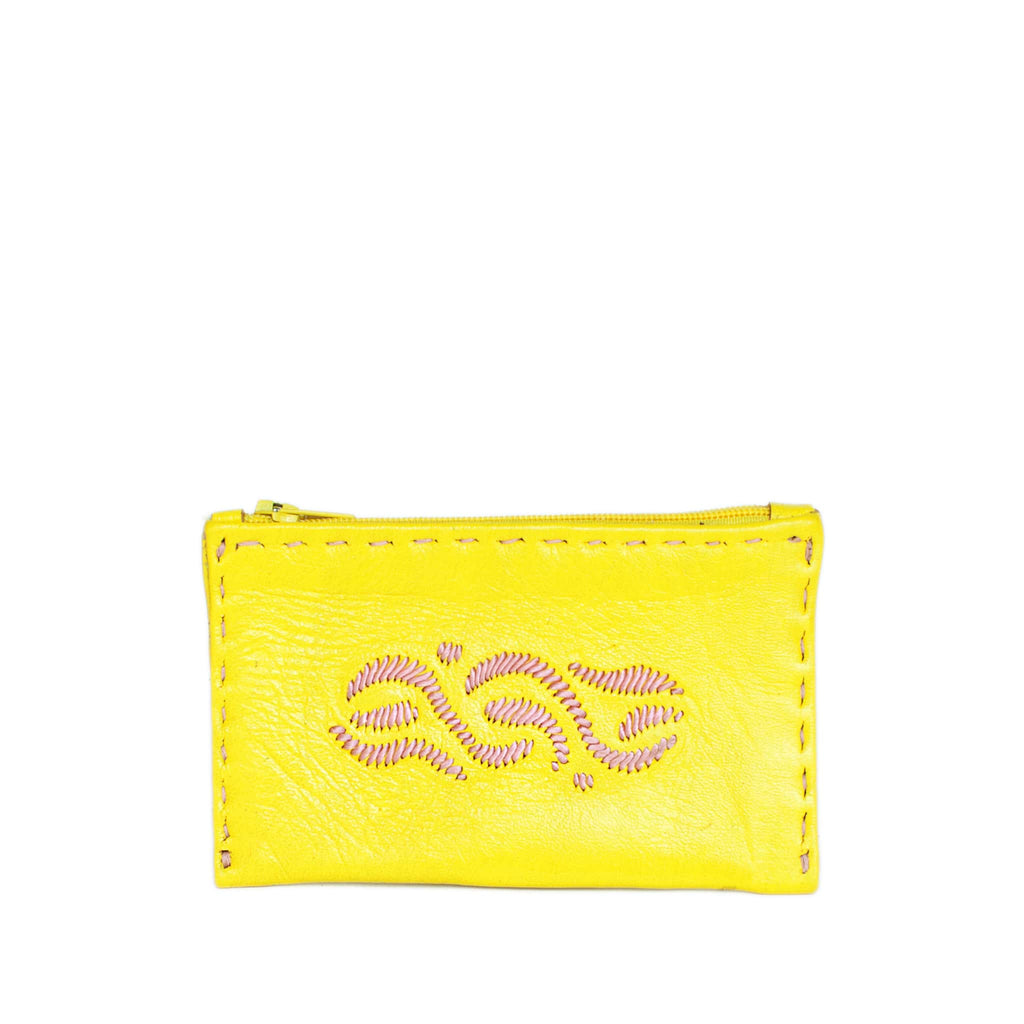 Yellow and Rosé Embroidered Leather Coin Wallet handmade product front shot