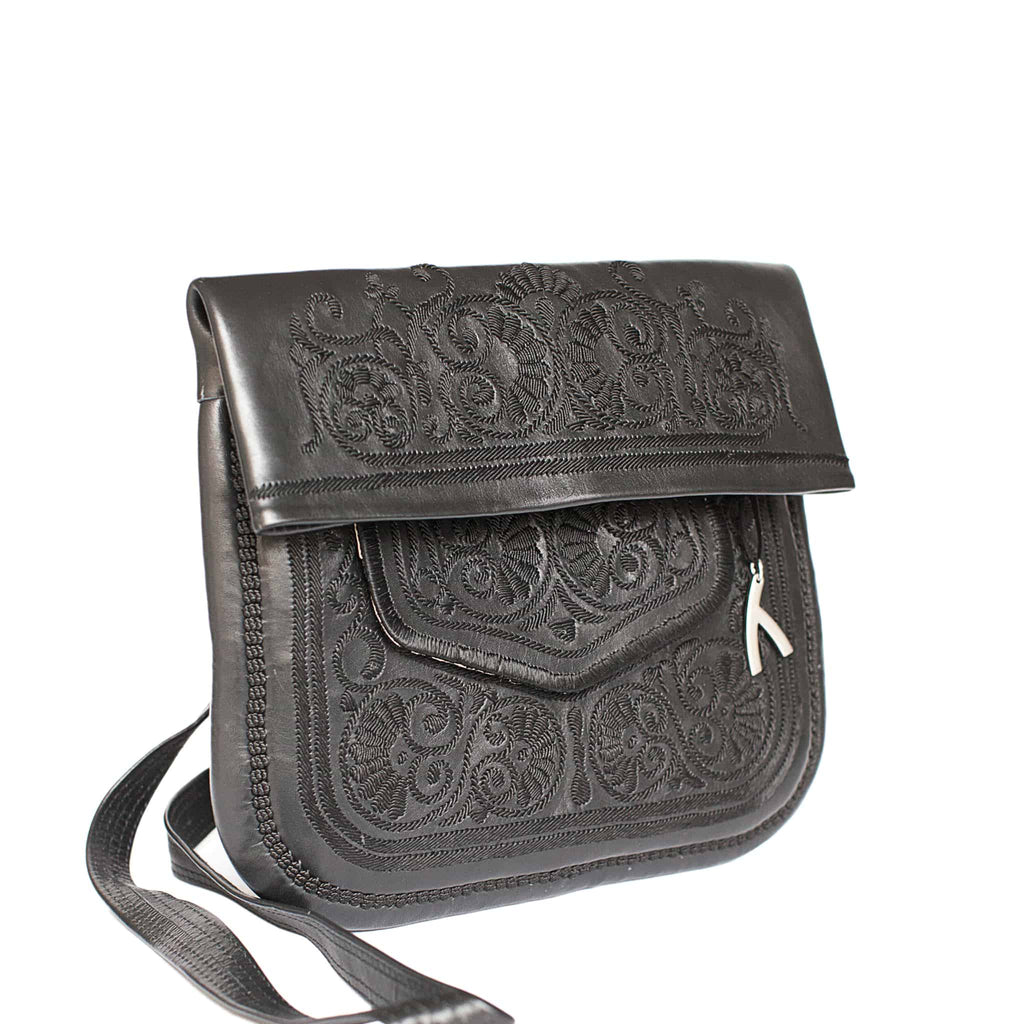 side view of black handmade embroidered ABURY Leather Berber Shoulder Bag