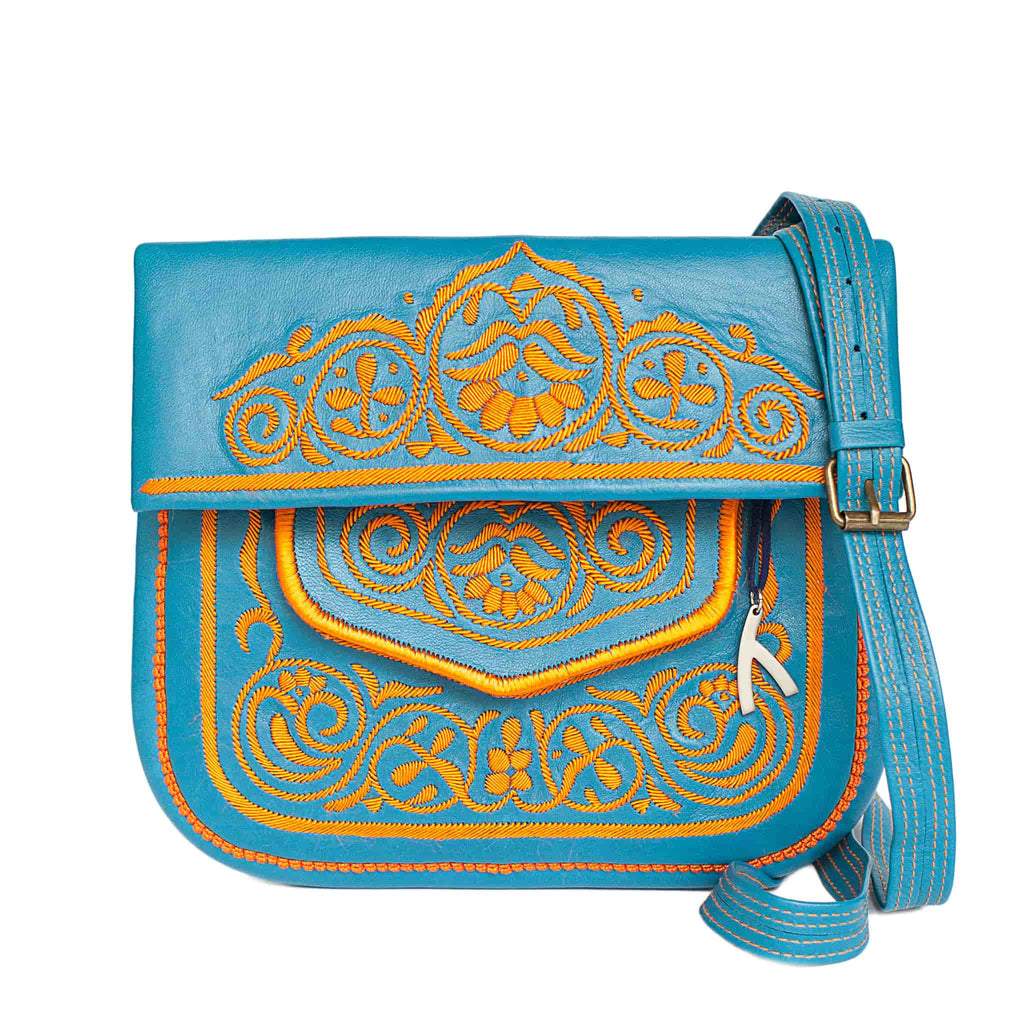 front view of turquoise and orange embroidered ABURY Leather Berber Shoulder Bag