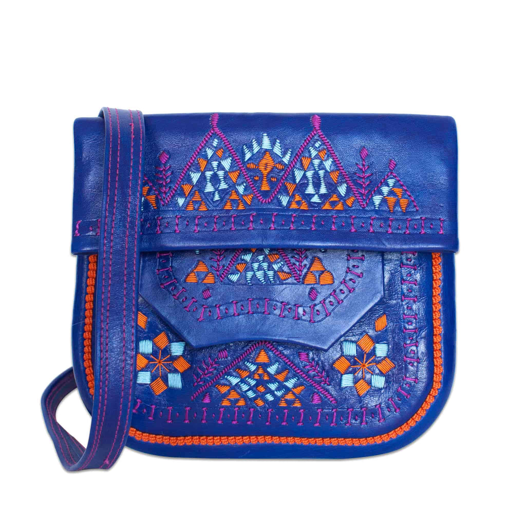 front view of Navy Blue Patterned ABURY Leather Berber Shoulder Bag