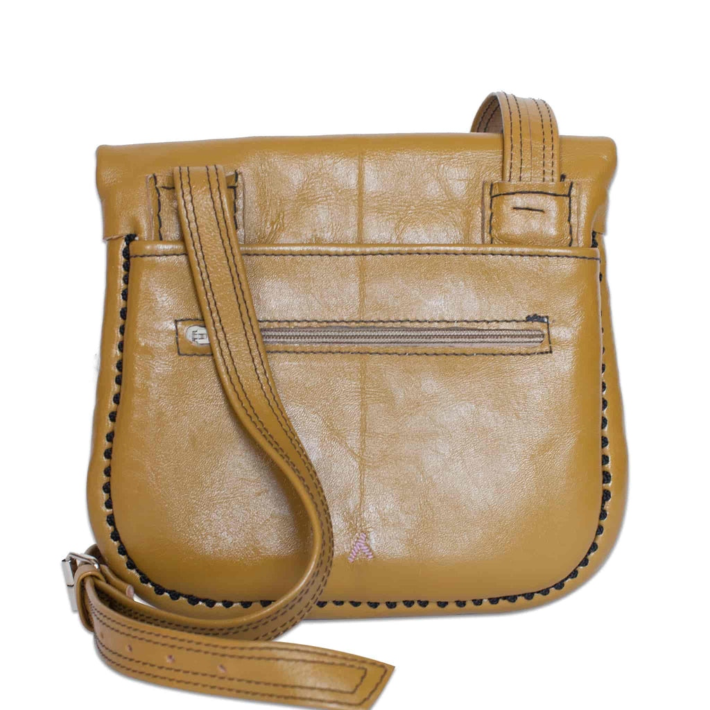 back view of beige patterned ABURY Leather Berber Shoulder Bag