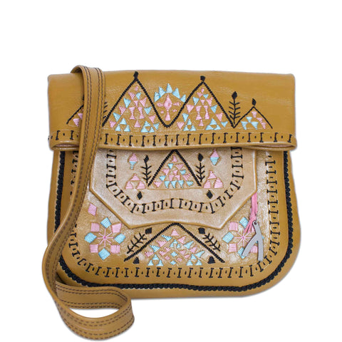 Embroidered Leather Berber Bag in Brown, Beige