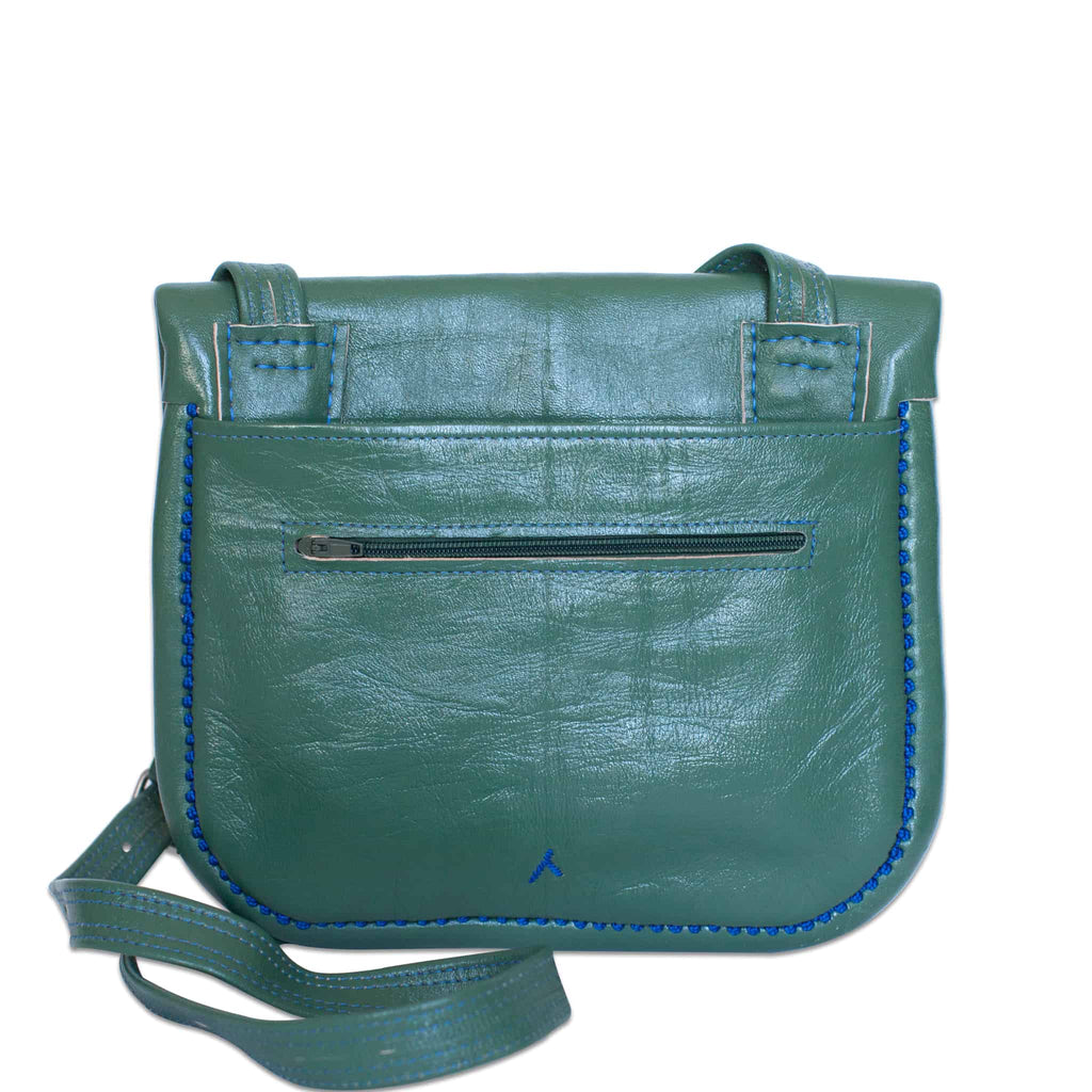 back view of handmade green and blue embroidered ABURY Leather Berber Shoulder Bag