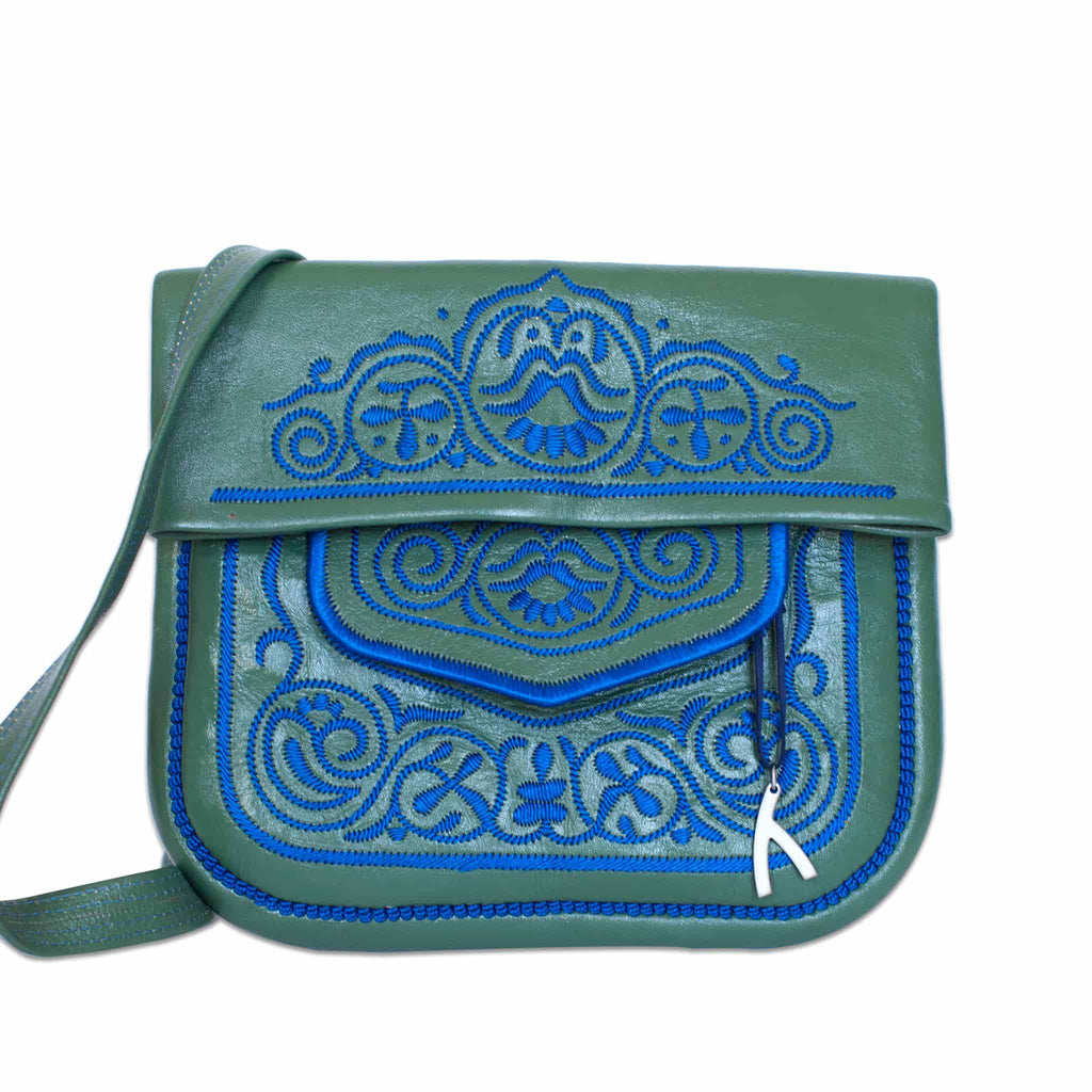 front view of green and blue handmade embroidered ABURY Leather Berber Shoulder Bag