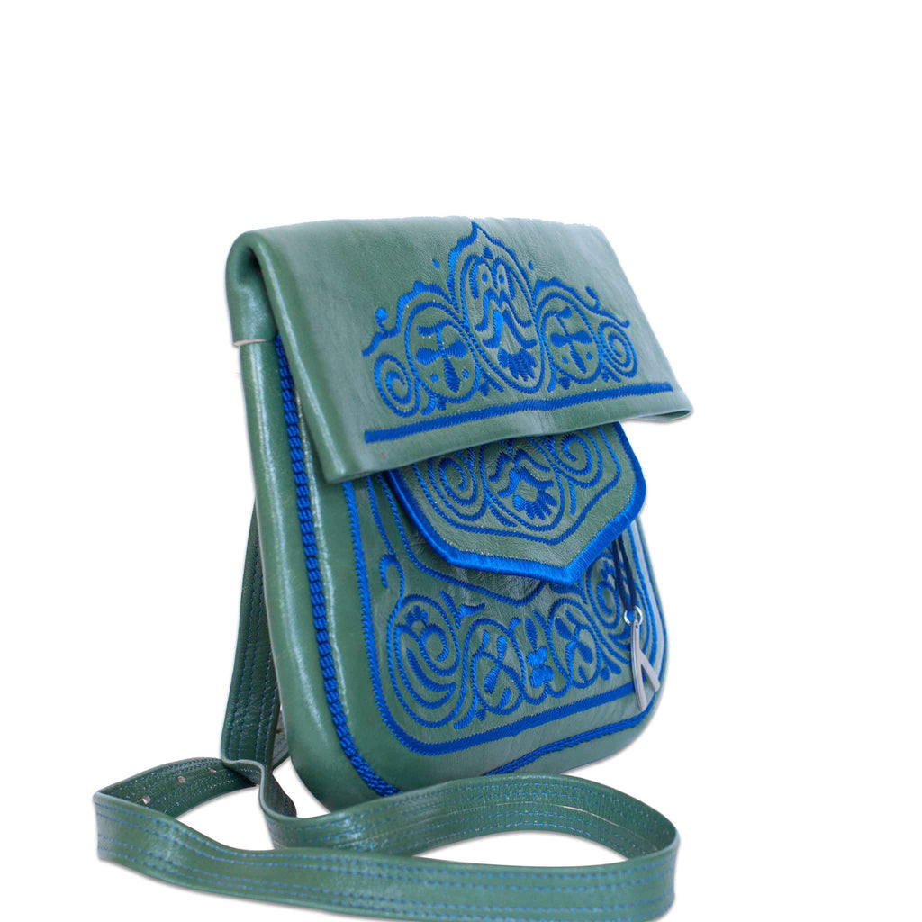 side view of green and blue embroidered ABURY Leather Berber Shoulder Bag
