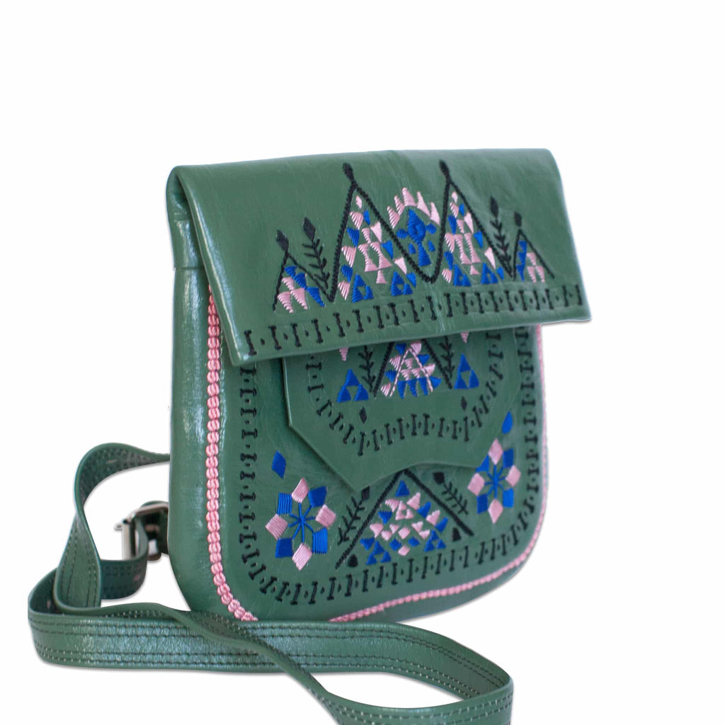 side view of Green Patterned embroidered ABURY Leather Berber Shoulder Bag