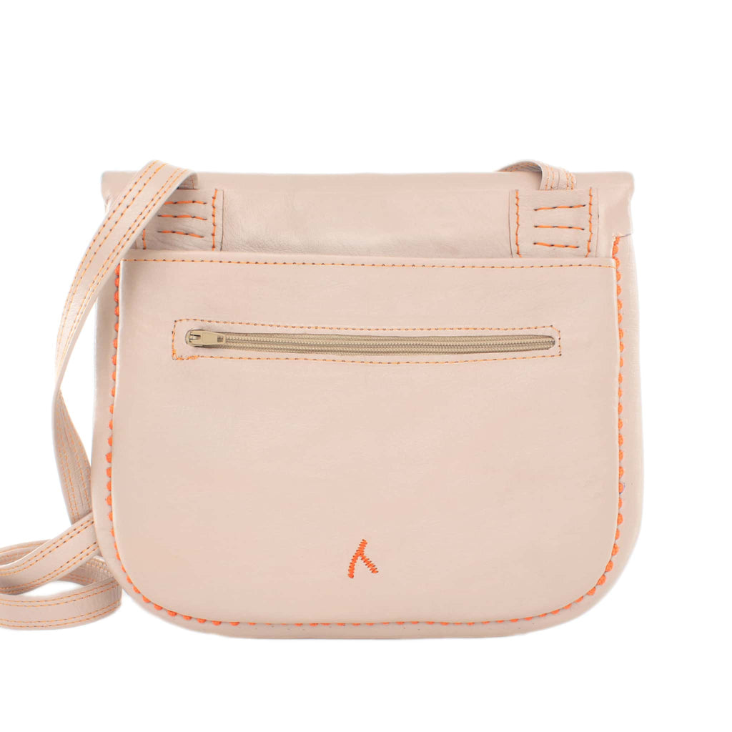 back view of beige and peach embroidered ABURY Leather Berber Shoulder Bag