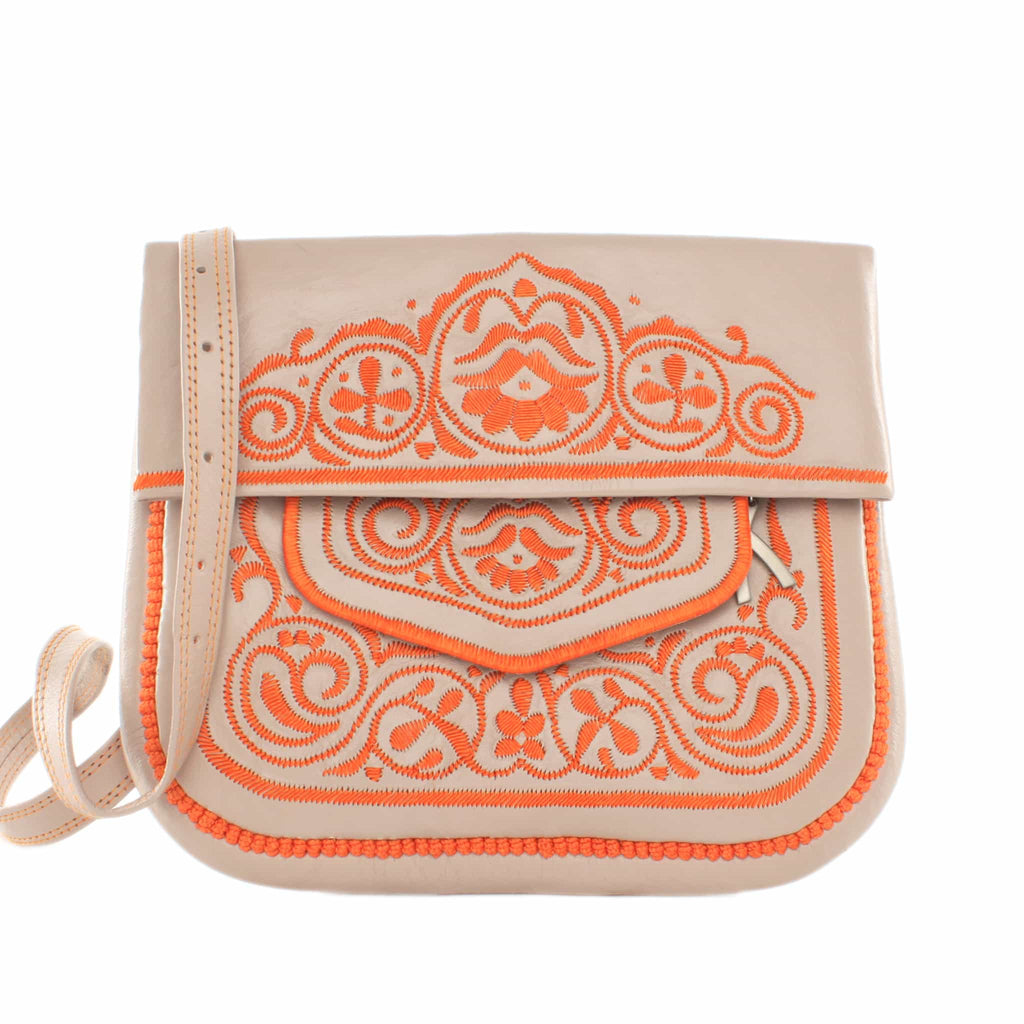 front view of beige and orange embroidered ABURY Leather Berber Shoulder Bag