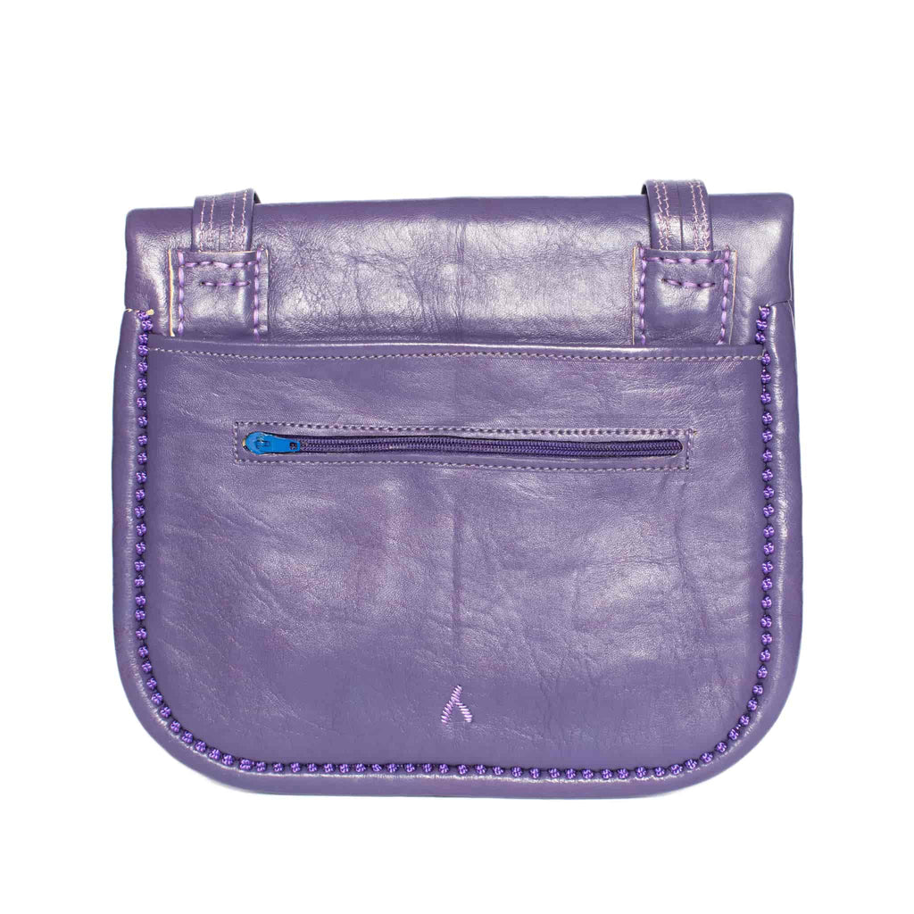 back view of purple embroidered ABURY Leather Berber Shoulder Bag
