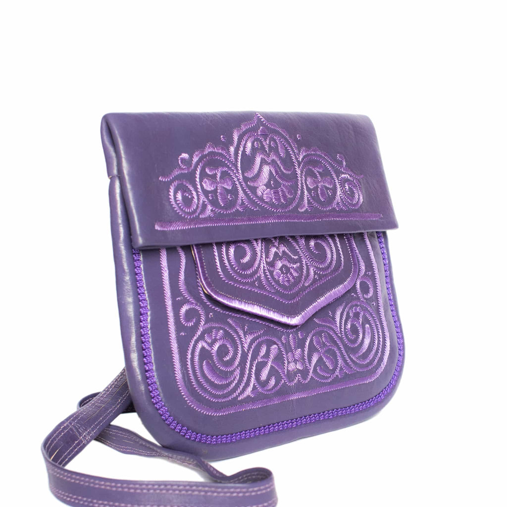 side view of purple embroidered ABURY Leather Berber Shoulder Bag