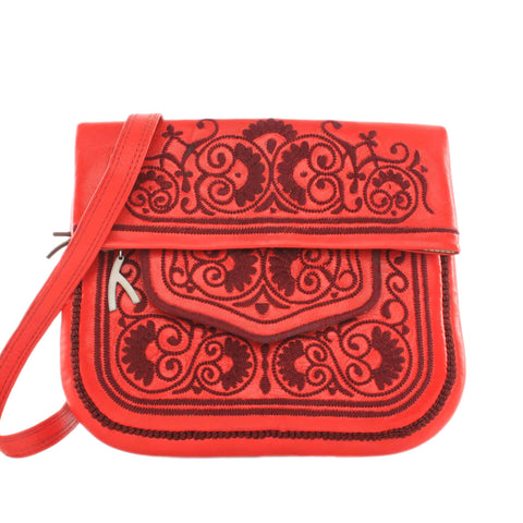 Embroidered Mini Crossbody Bag in Pink, Orange
