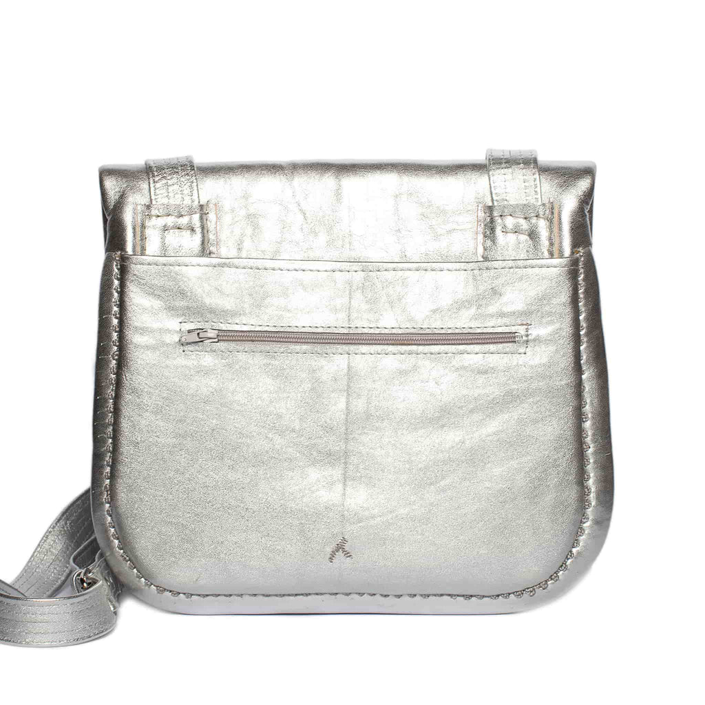 back view of silver embroidered ABURY Leather Berber Shoulder Bag
