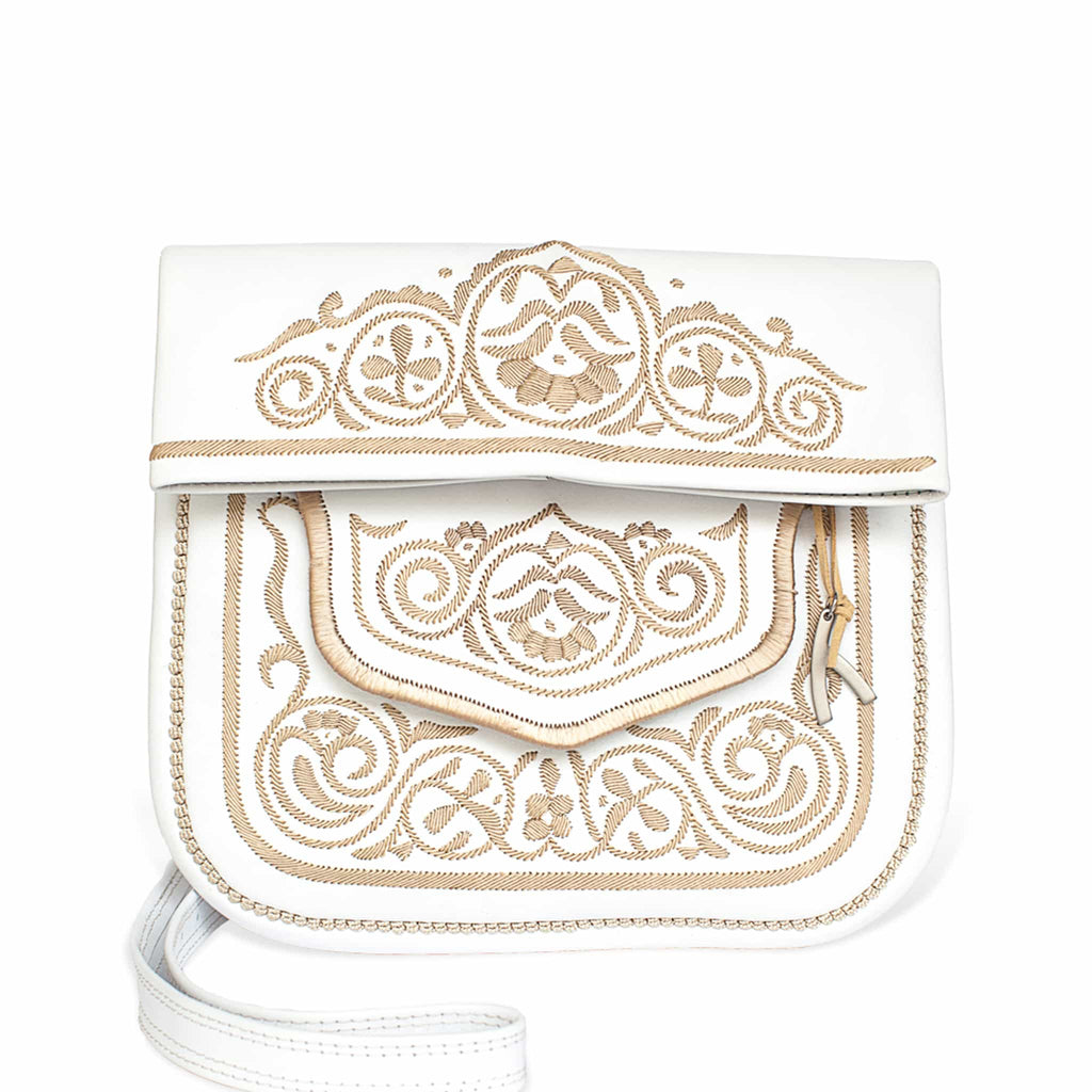 front view of white and beige embroidered ABURY Leather Berber Shoulder Bag