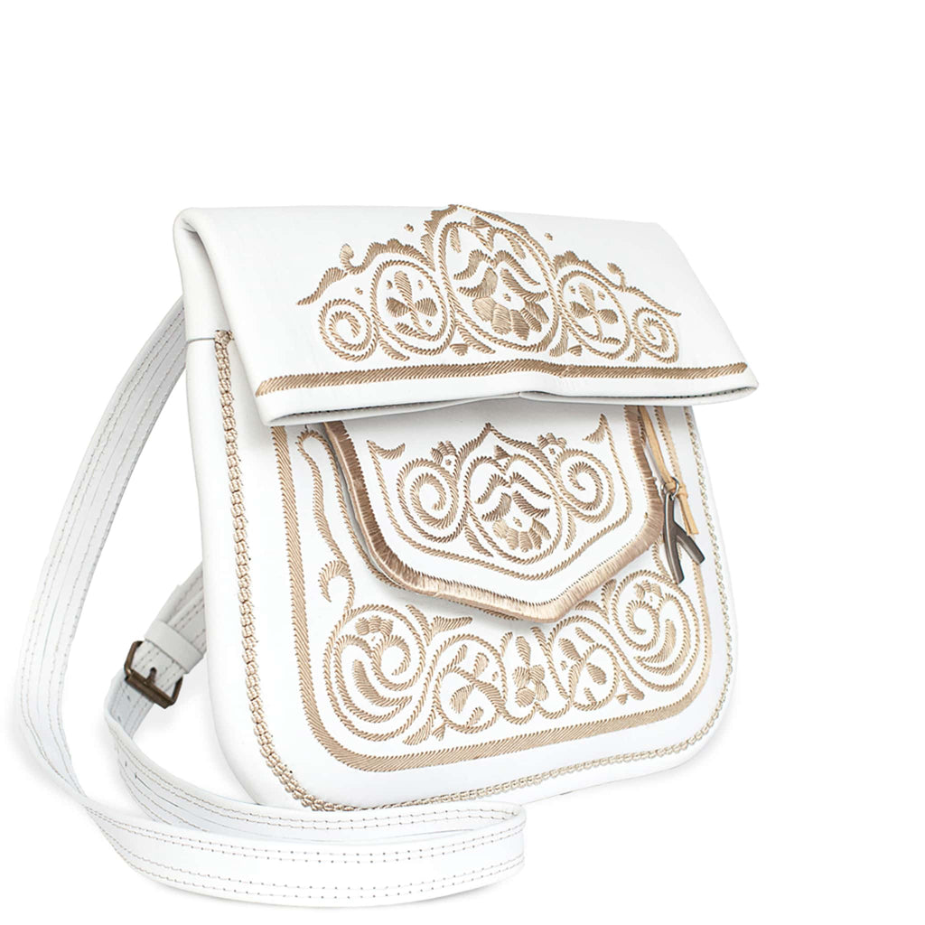 side view of white and beige embroidered ABURY Leather Berber Shoulder Bag