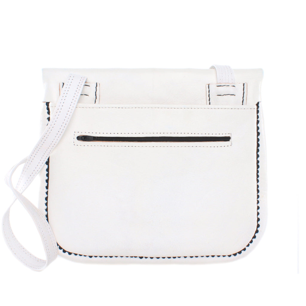 back view of white and black embroidered ABURY Leather Berber Shoulder Bag